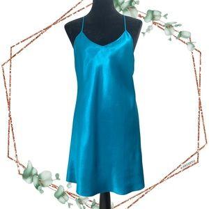 VTG Victoria's secret mini slip dress size M blue